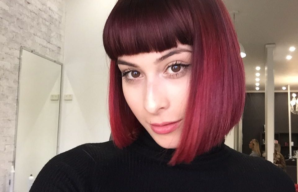 Blunt Collapsed Bob with Full Blunt Bangs and Burgundy Ombre Medium Length Hairstyle