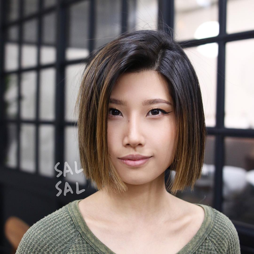 Blunt Cut Bob with Textured Ends and Brunette Balayage Medium Length Hairstyle