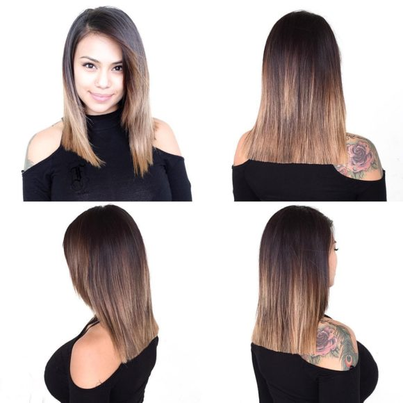 Blunt Lob with Front Layers and Brunette Ombre Medium Length Hairstyle