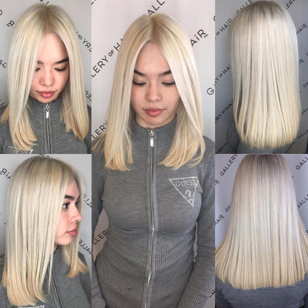 Blunt Platinum Blonde Lob with Center Part Medium Length Hairstyle