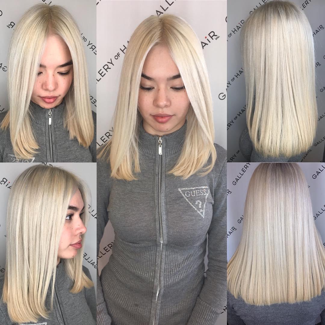 Blunt Platinum Blonde Lob with Center Part Medium Length Hairstyle