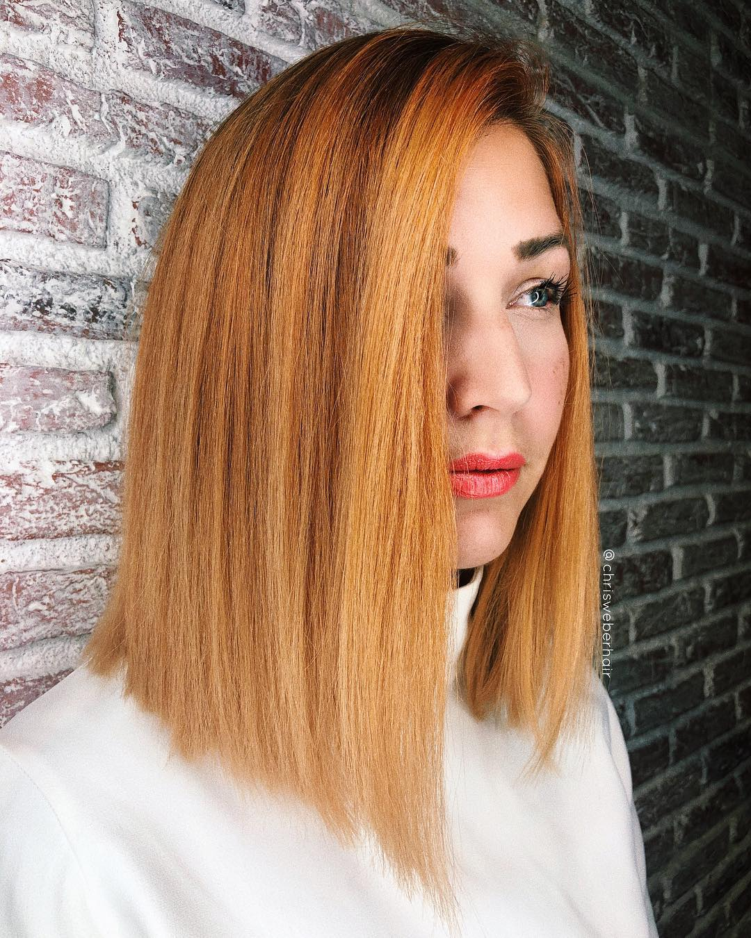 Blunt Side Parted Lob with Textured Ends and Bold Ginger Color Medium Length Hairstyle