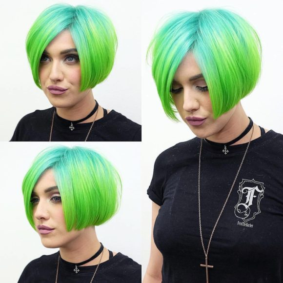 Blunt Undercut Box Bob with Neon Green Ombre Short Hairstyle