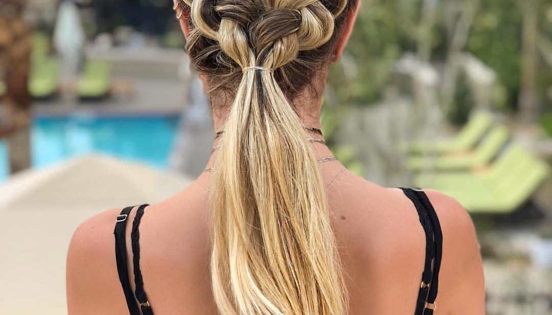 Bohemian Double Dutch Braided Ponytail with Blonde Balayage Hair Color Beach Braid Updo Summer Hairstyle