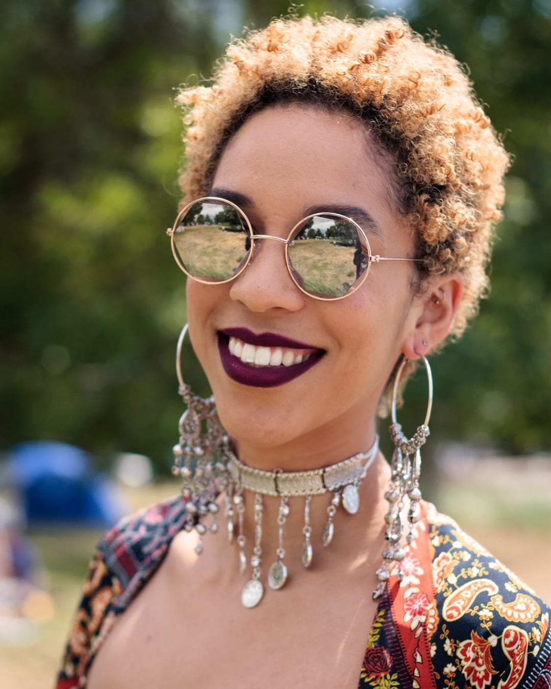 Boho Chic Curly Pixie Fro with Copper Color and Shadow Roots Short Summer Hairstyle
