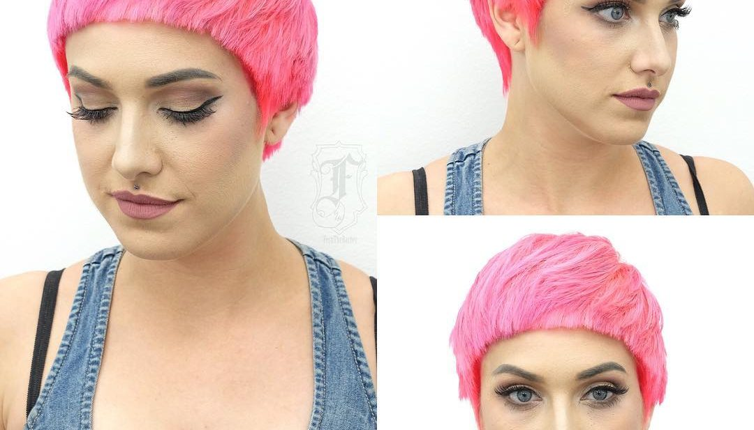 Bold Textured Pink Pixie with Rounded Blunt Face Framing Lines Short Hairstyle
