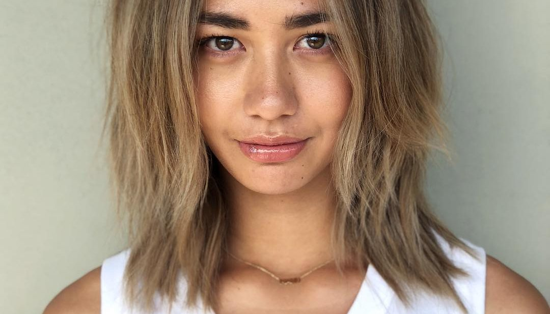Bronde Center Parted Lob with Straight Undone Texture and Dark Shadow Roots Medium Length Hairstyle