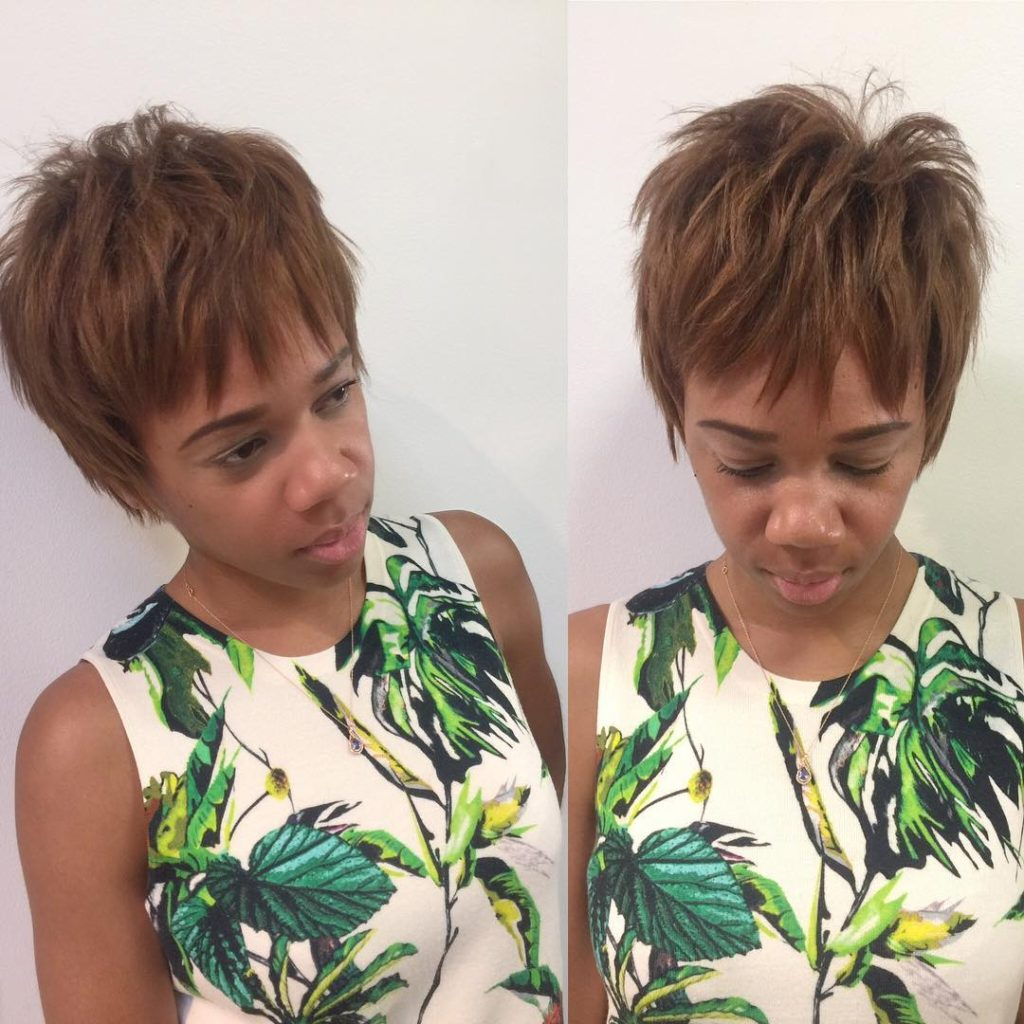 Bronze Choppy Textured Pixie Short Hairstyle