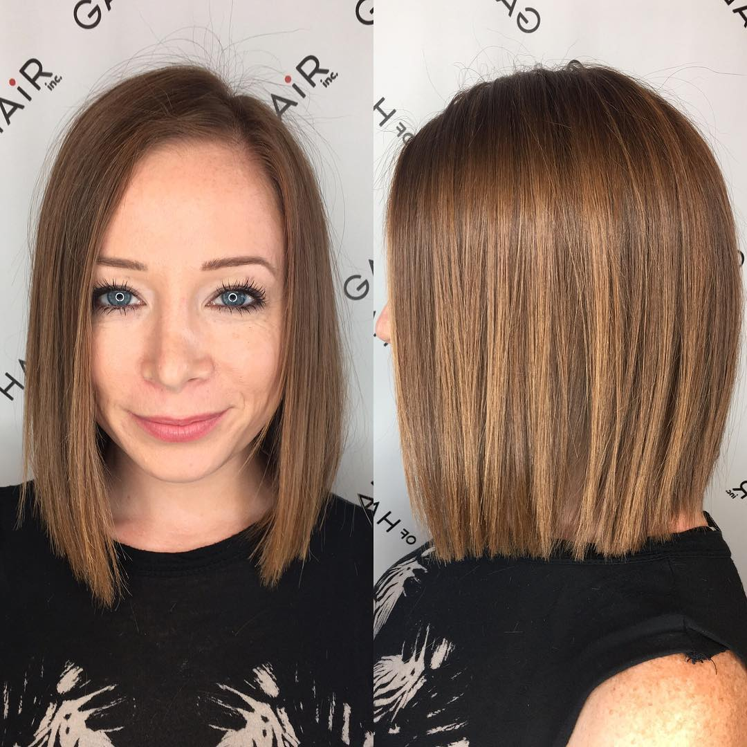 Blunt Bronze Shoulder Length Bob with Textured Ends and Side Part Medium Length Hairstyle
