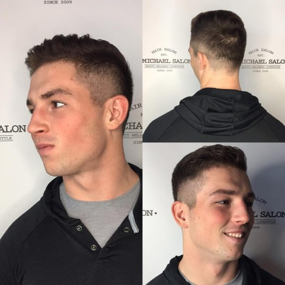 Brown Fade Cut with Short Textured Top and Tapered Back
