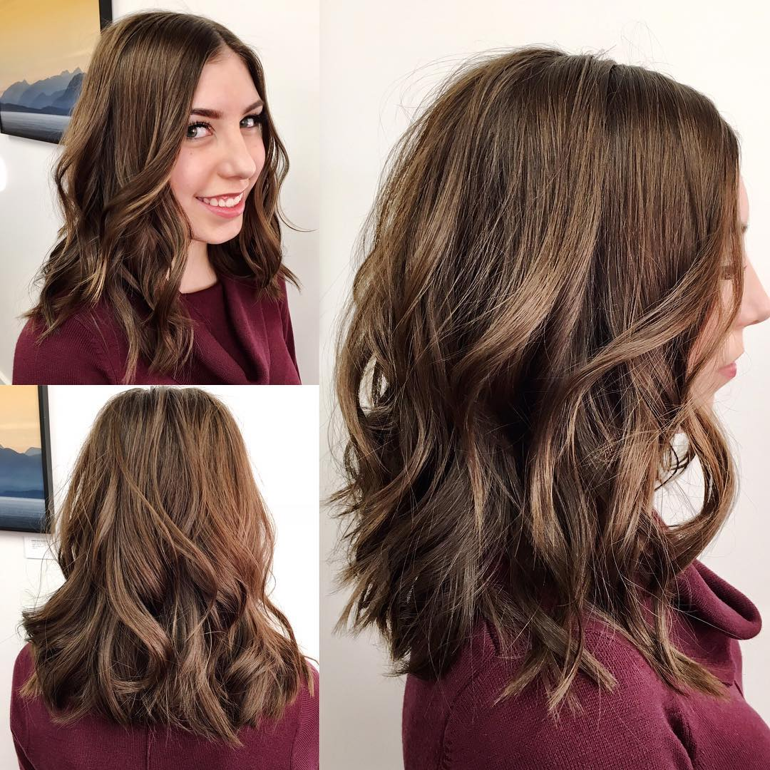 Brown Soft Layered Lob with Waves and Center Part Medium Length Hairstyle