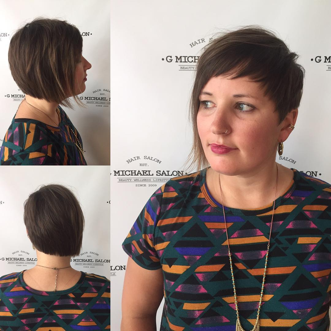 Brunette Asymmetric Pixie with Textured Fringe and Blunt Edges Short Hairstyle