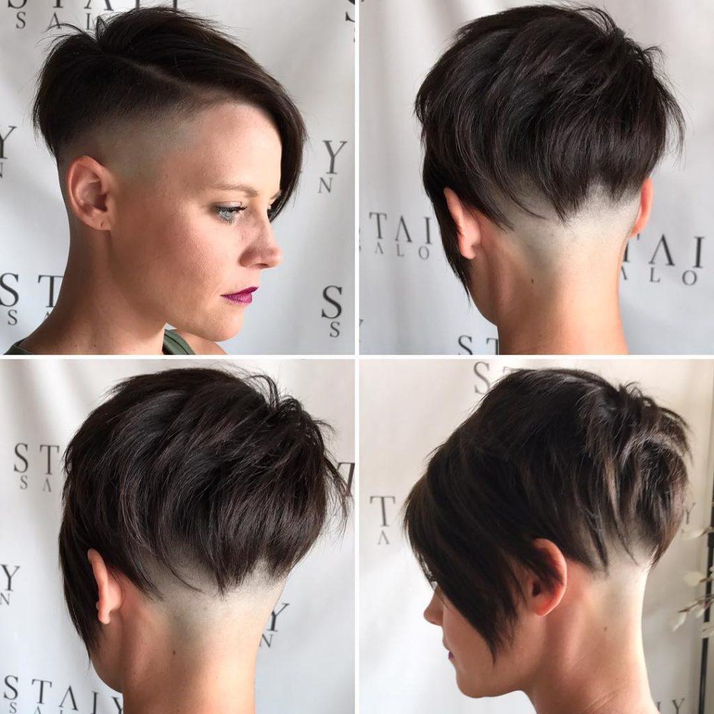 Brunette Choppy Asymmetrical Undercut Pixie Short Hairstyle