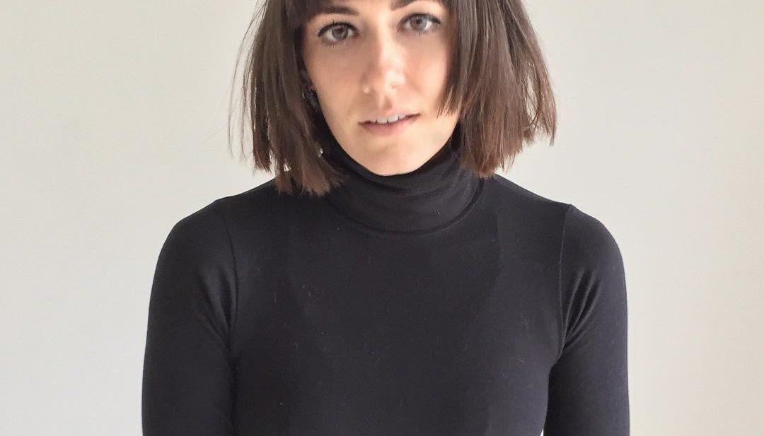 Brunette Choppy Square Bob with Brow Skimming Bangs Medium Length Hairstyle