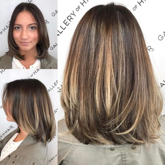 Brunette Layered Blowout Bob with Face Framing Layers and Color Melt Balayage Medium Length Hairstyle