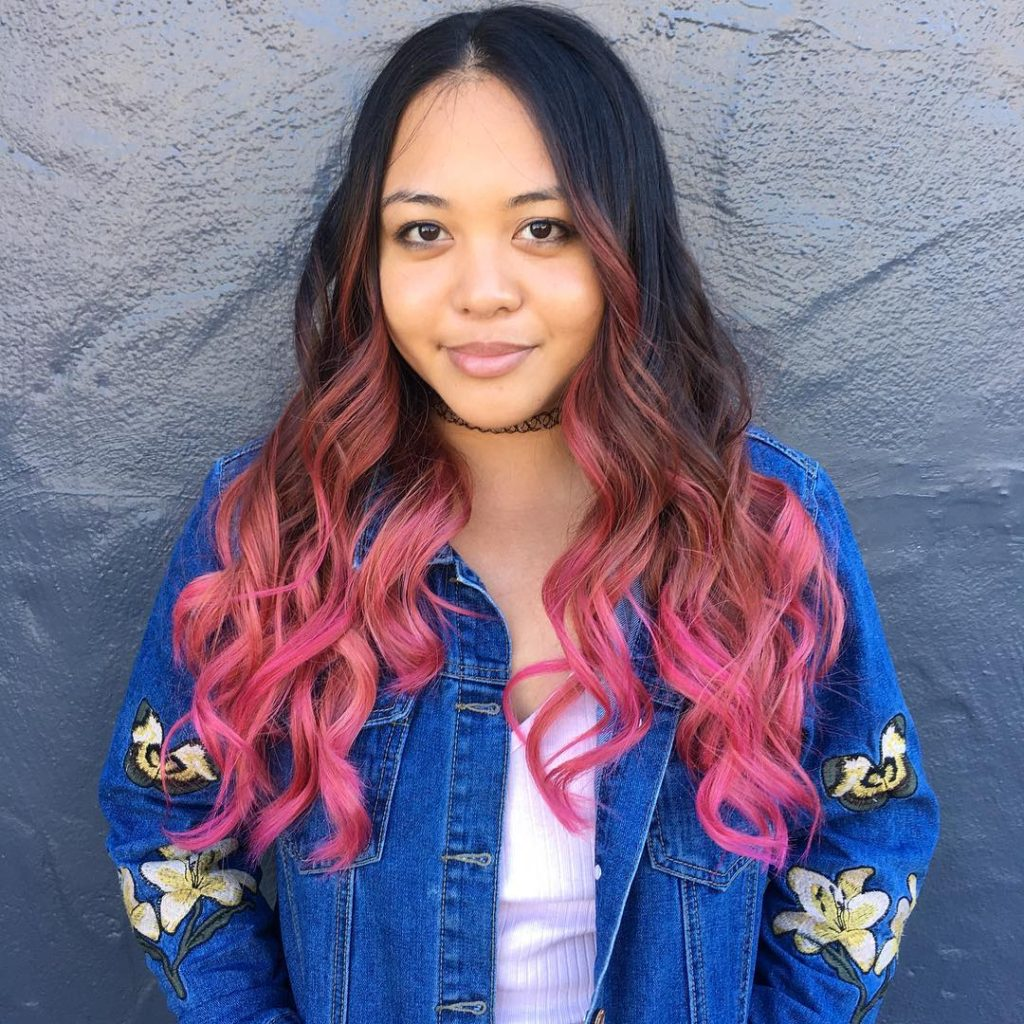 Brunette Layered Cut with Waves and Pink Color Melt Ombre Long Hairstyle