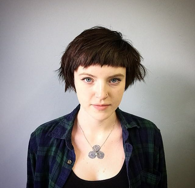 Brunette Mod Crop with Allover Undone Textured Fringe and Baby Bangs Short Hairstyle