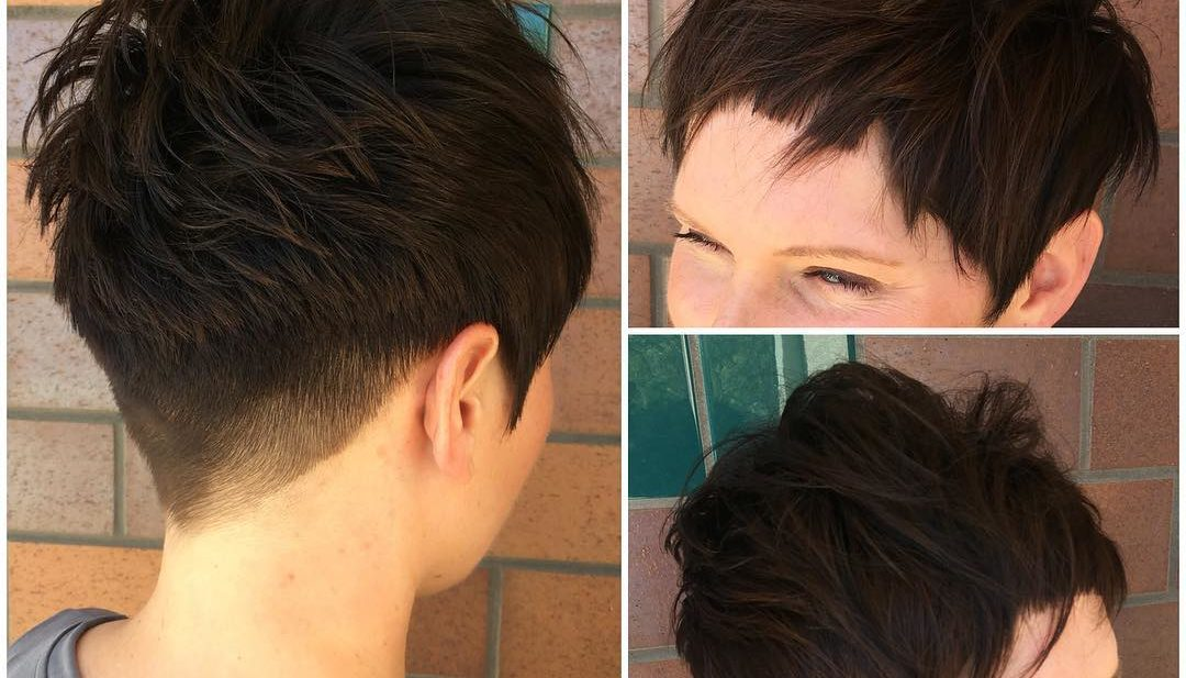 Brunette Pixie with Blunt Edges and Textured Top Fringe Short Hairstyle