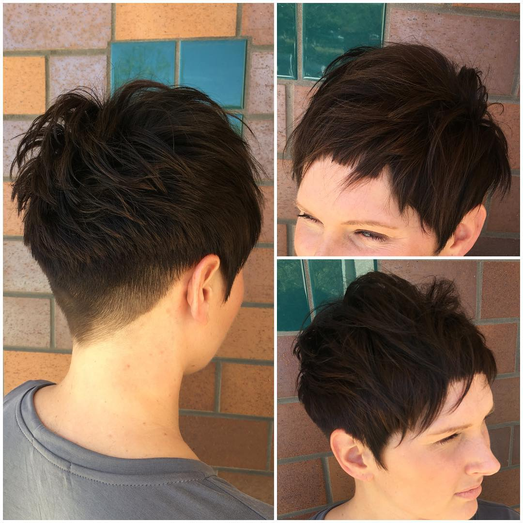 Brunette Pixie With Blunt Edges And Textured Top Fringe