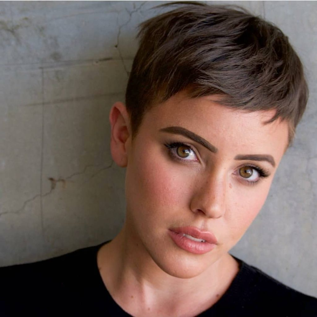 Brunette Pixie with Messy Beach Texture and Taper Short Summer Hairstyle