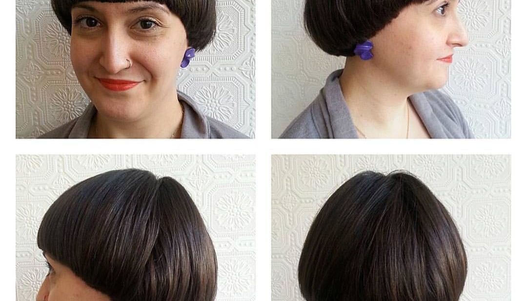 Brunette Retro Bowl Cut with Blunt Edges Short Hairstyle