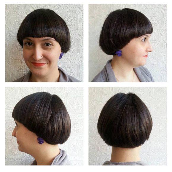 Brunette Retro Bowl Cut with Blunt Edges Short Hairstyle