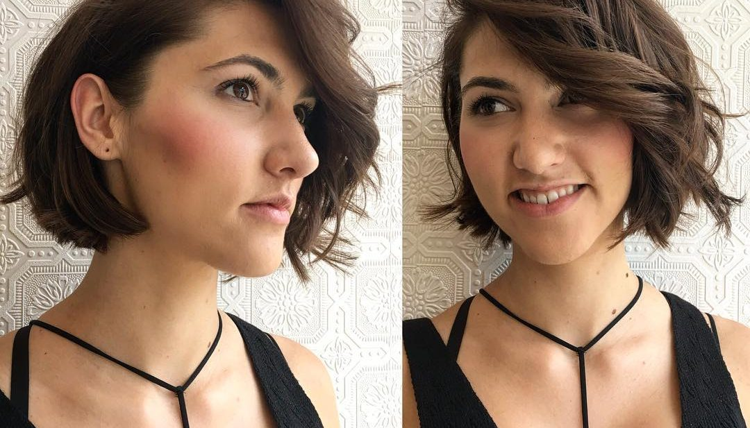 Brunette Soft Blend Shaped Bob with Tousled Waves and Long Wavy Side Swept Bangs Short Hairstyle