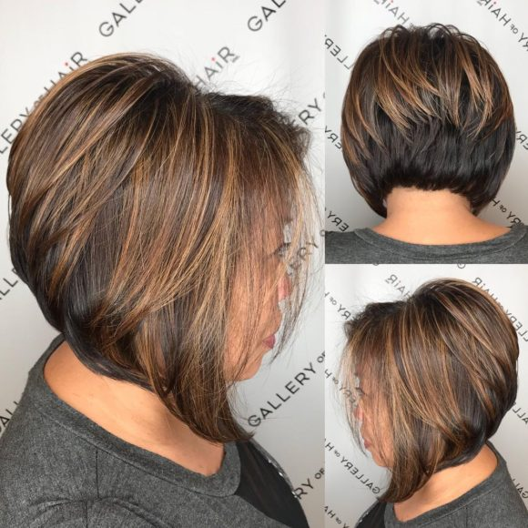 Brunette Stacked Angled Bob with Caramel Highlights Short Hairstyle