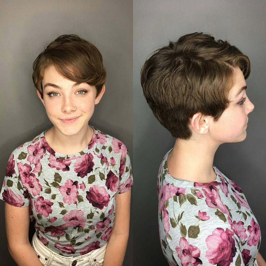 Brunette Textured Crop Cut with Flipped Side Swept Bangs and Soft Wave Short Hairstyle