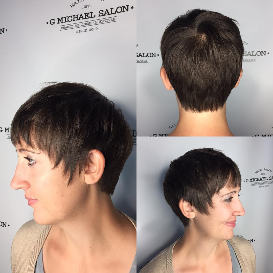 Brunette Textured Pixie with Fringe Bangs and Sideburns Short Hairstyle