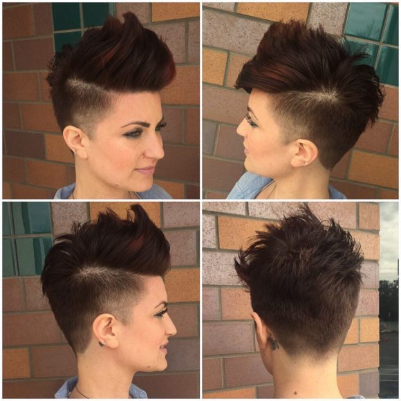 Brunette Undercut Faux Hawk Pixie with Burgundy Highlights Short Hairstyle