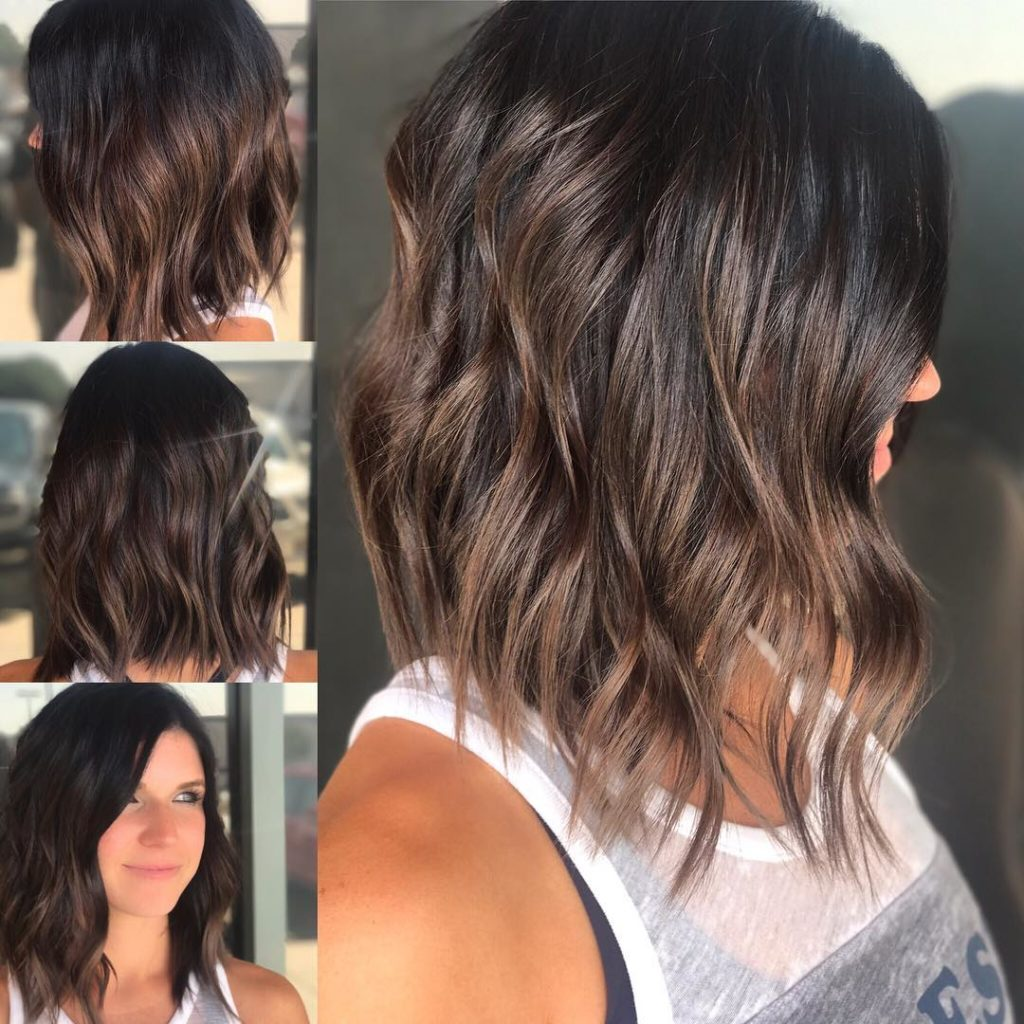 Brunette Wavy Textured Bob with Soft Highlights Medium Length Hairstyle