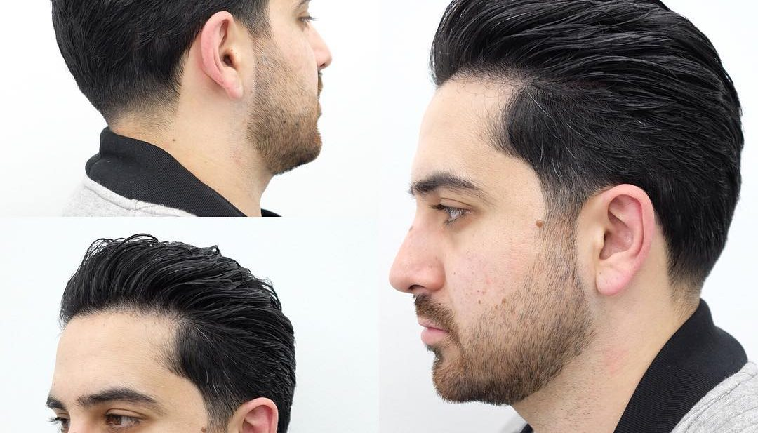 Brushed Back Regular Cut with Soft Taper and Beard Hairstyle