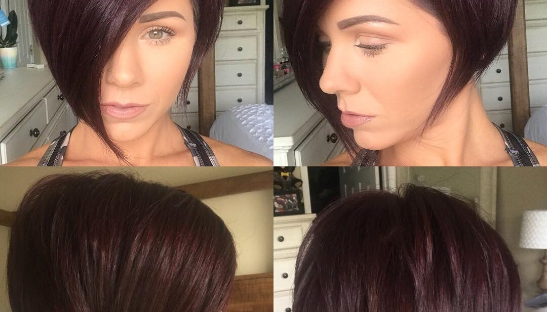 Burgundy Asymmetrical Pixie Bob with Side Swept Bangs and Fringe Short Hairstyle