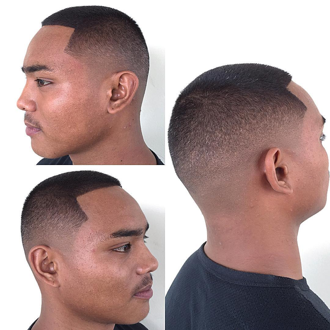 Buzz Cut with Fade and Lines on Dark Hair