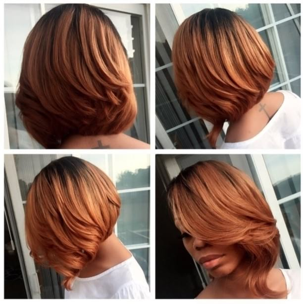 Chic Asymmetrical Blowout Bob with Copper Ombre Color Medium Length Hairstyles