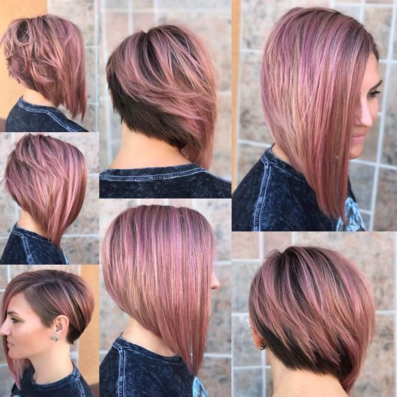 Chic Asymmetrical Bob with Rosy Brown Color and Highlights Medium Length Hairstyle