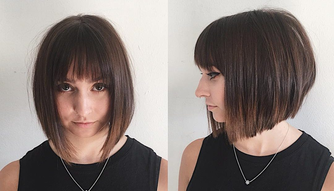 Chic Blunt Angled Bob with Feathered Bangs and Brunette Ombre Medium Length Hairstyle
