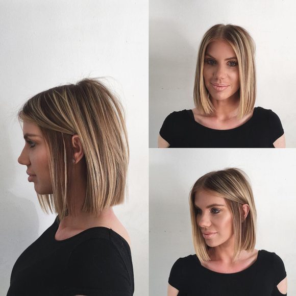 Chic Blunt Blonde Bob with Highlights Medium Length Hairstyle