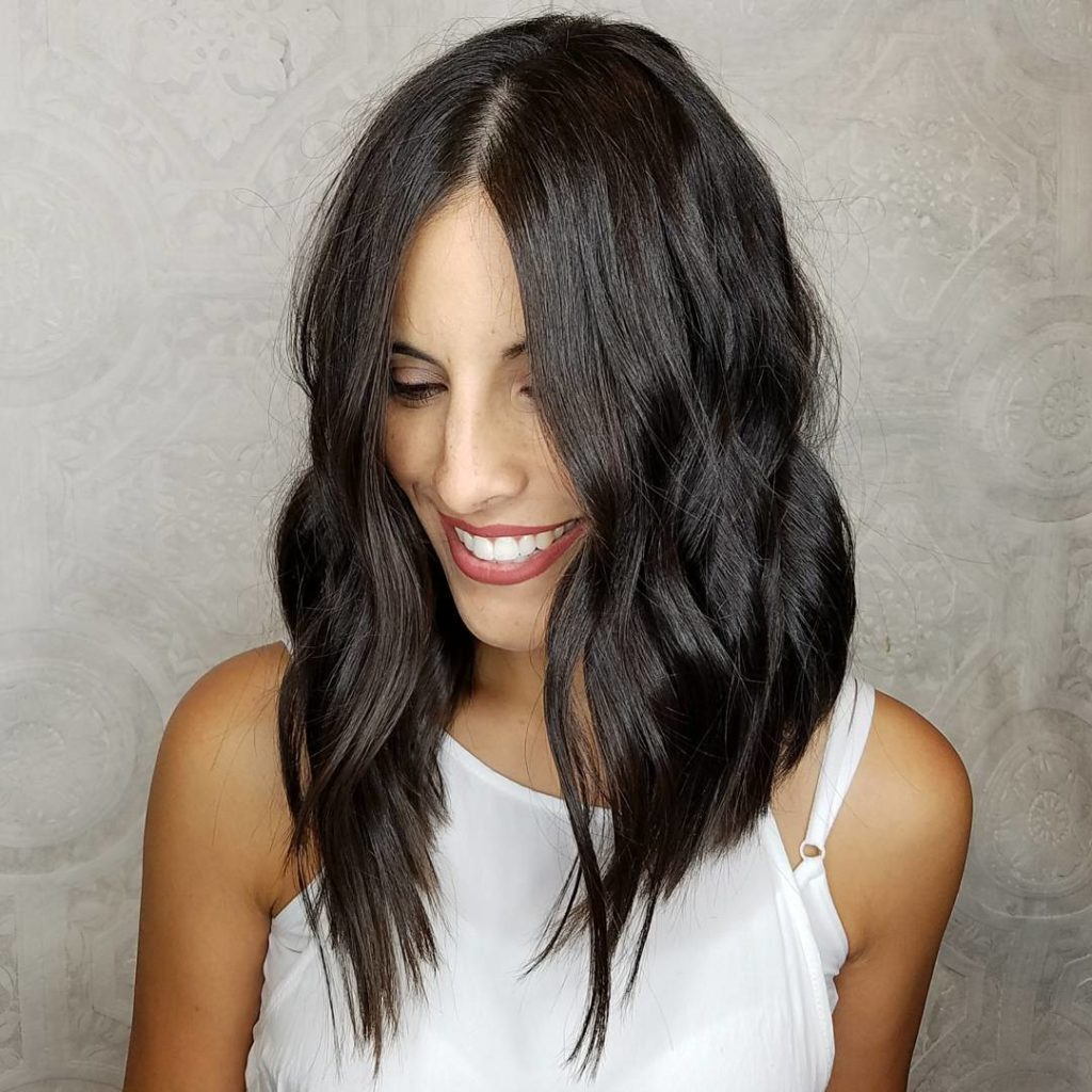Chic Brunette Angled Wavy Layered Lob Longhair Hairstyle