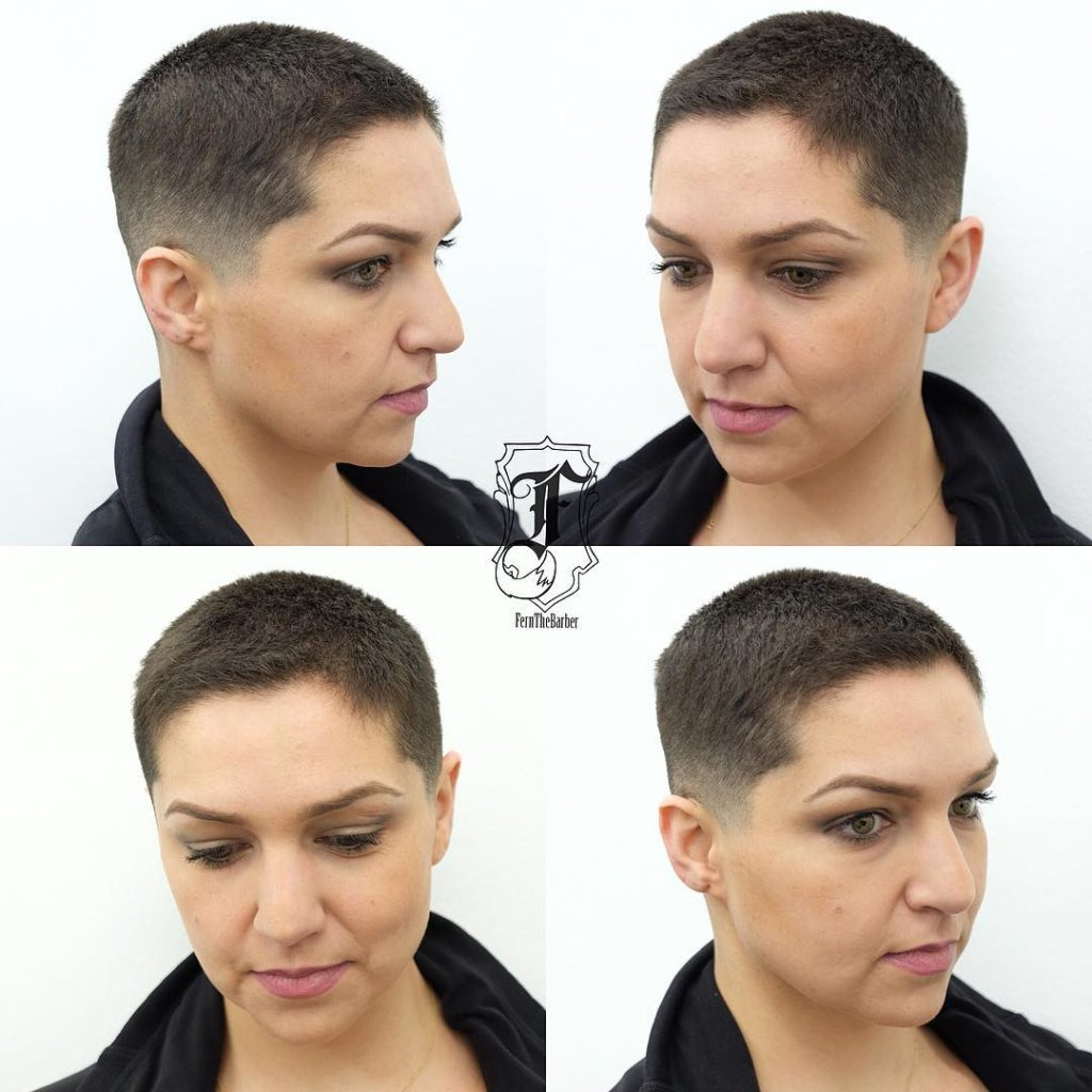 Chic Brunette Buzz Cut with Fade Short Hairstyle