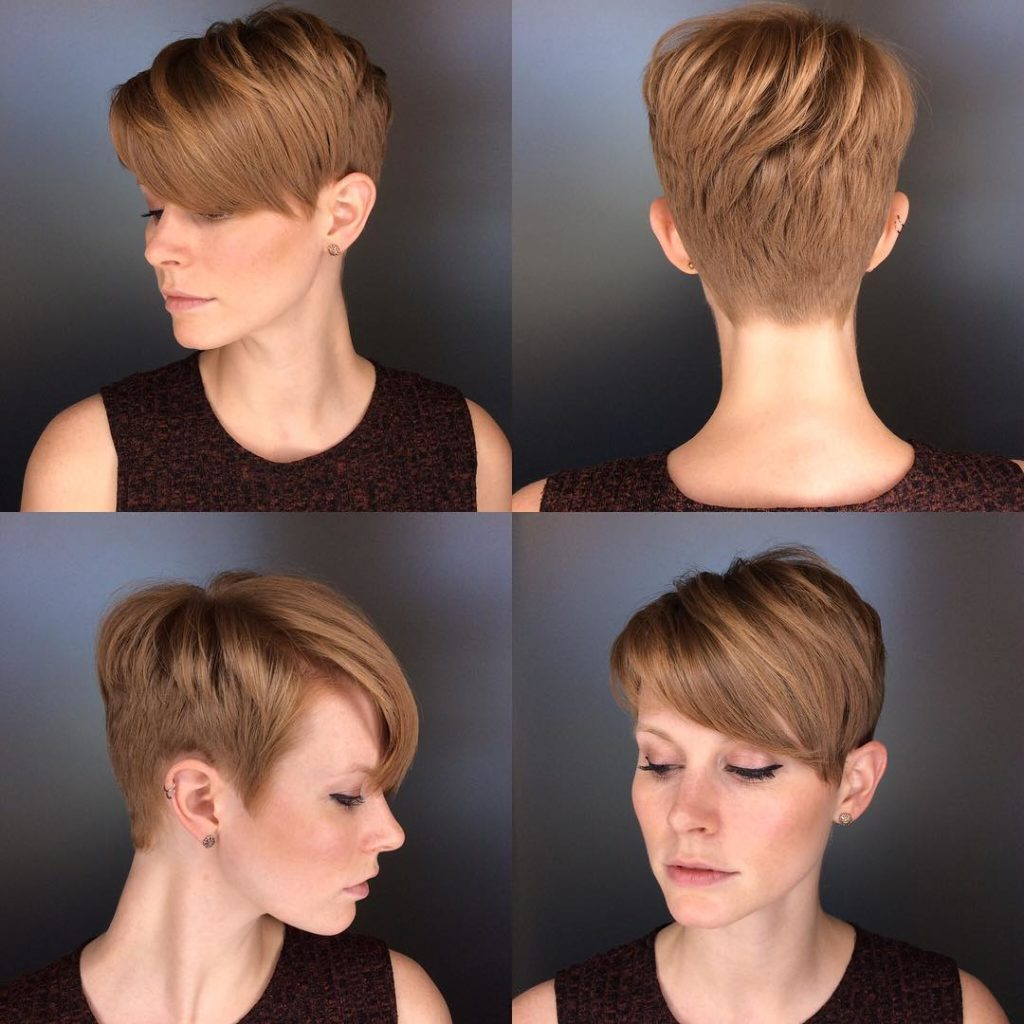 Chic Copper Crop with Side Swept Bangs Short Hairstyle