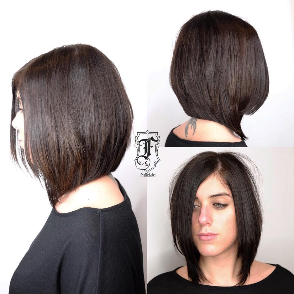 Chic Long Angled Bob with Layers and Brunette Color Medium Length Hairstyle