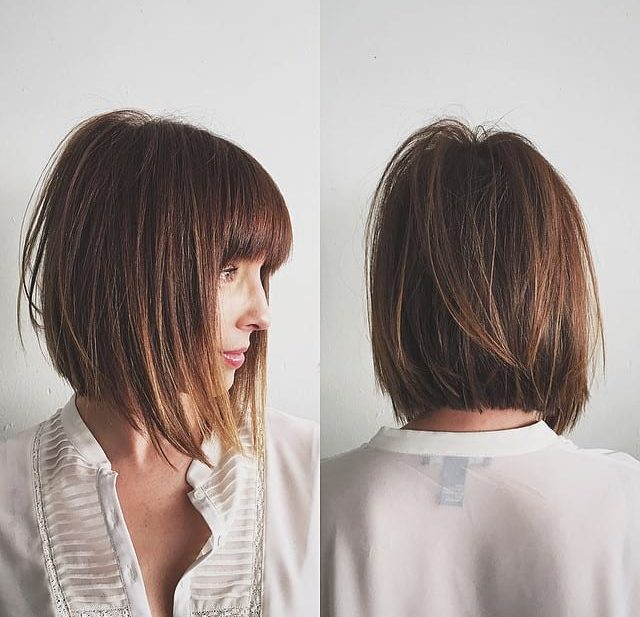 Chic Razor Cut Bob with Bangs and Undone Straight Texture with Warm Brown Color Medium Length Hairstyle