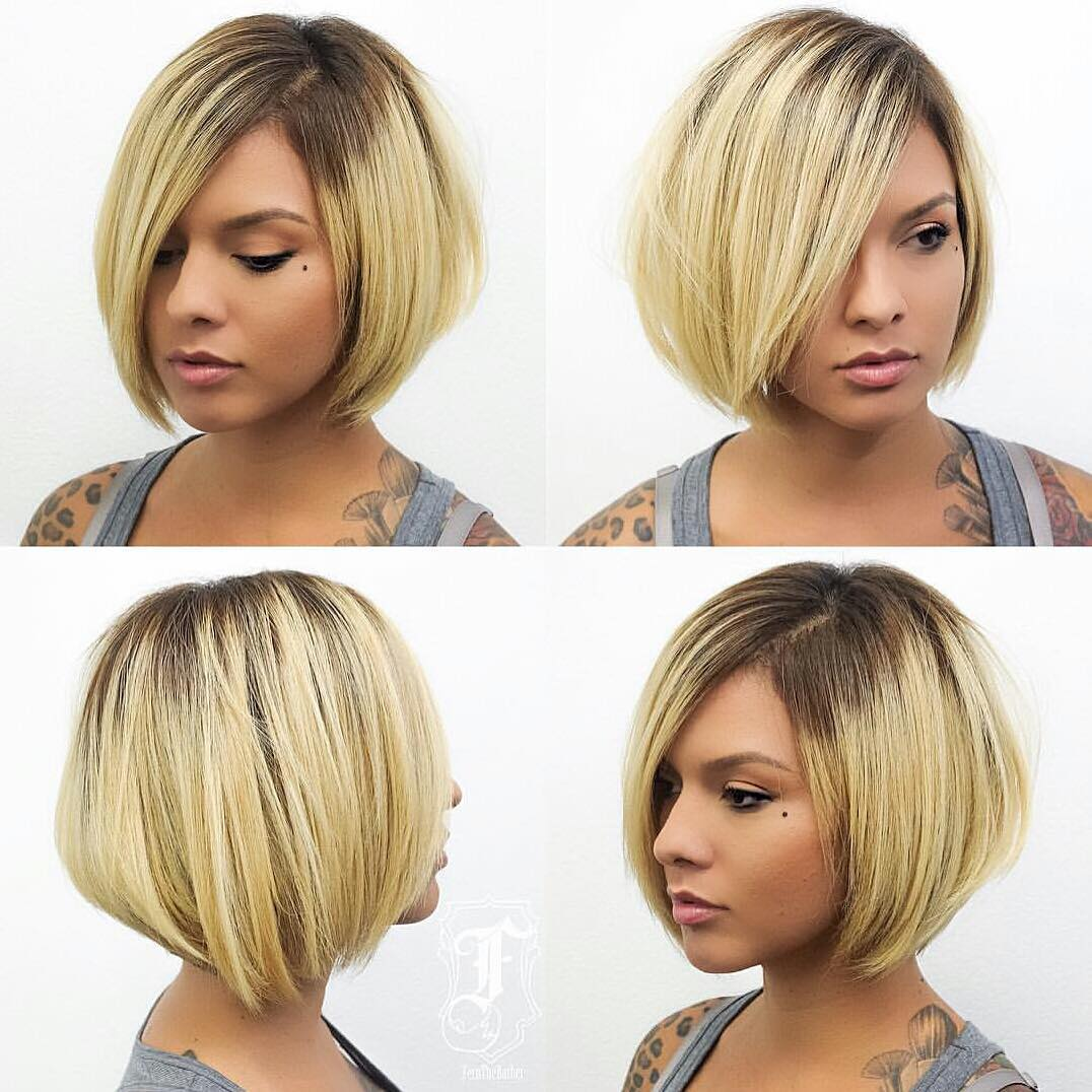 Chic Stacked Bob with Blonde Color and Shadow Roots Short Hairstyle