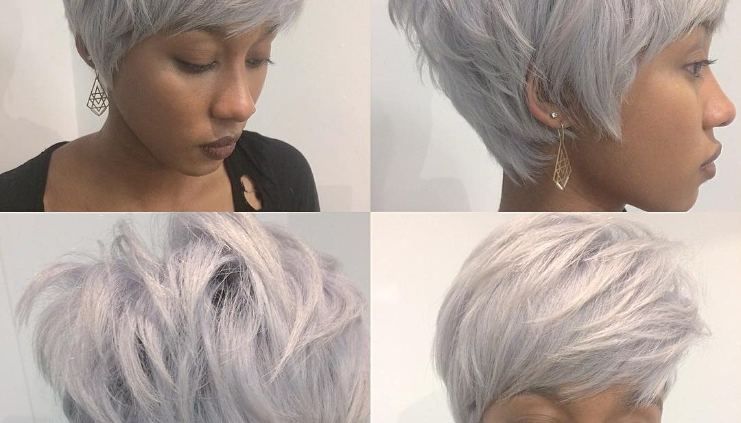 Chic Stacked Silver Pixie with Messy Texture and Feathered Bangs Short Hairstyle