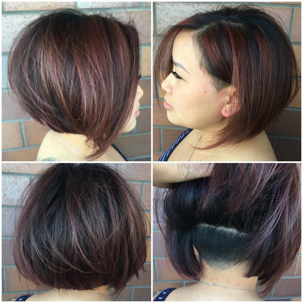 Chic Undercut Stacked Bob on Dark Hair with Burgundy Highlights Short Hairstyle