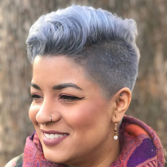 Chic Undercut with Voluminous Blowout Texture and Metallic Silver Hair Color Short Fall Hairstyle