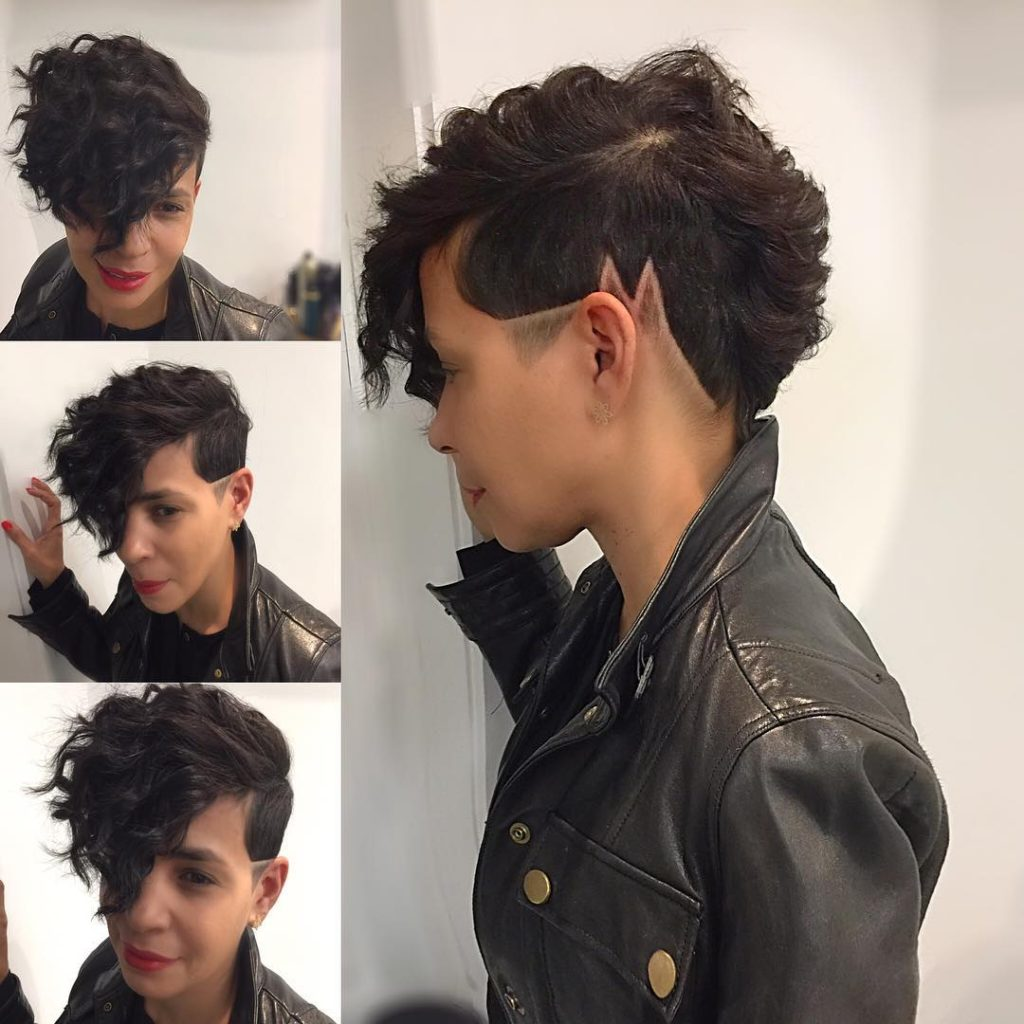 Chic Wavy Faux Hawk With Shaved Line Art And Fade The Latest Hairstyles For Men And Women 2020 Hairstyleology