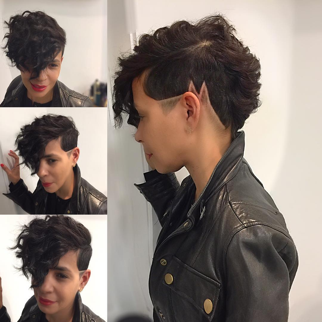 Chic Wavy Faux Hawk with Shaved Line Art and Fade Short Hairstyle